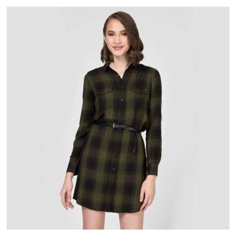 Pepe Jeans dámské olivové kostkované košilové šaty