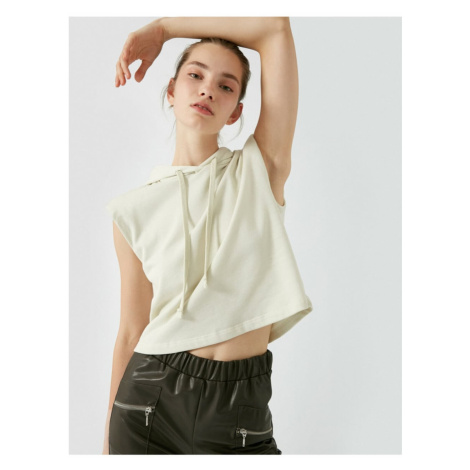 Koton Women's Hooded Padded Sleeveless Sweatshirt