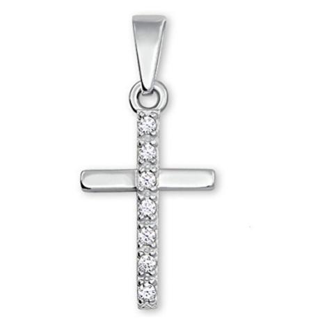 Brilio Silver Třpytivý stříbrný přívěsek křížek 001 04