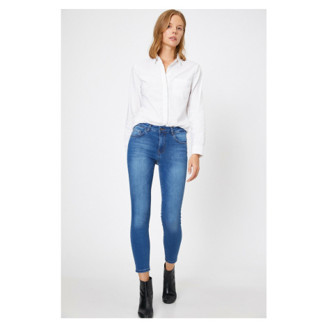 Koton Women's Blue Low Waist Push Up Skinny Jean