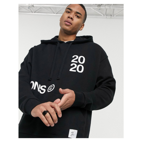 ASOS Dark Future co-ord oversized hoodie in black with multi-placement print