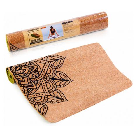 Spokey SAVASANA jóga podložka na cvičení korková s mandalou, 4 mm, vč. popruhu