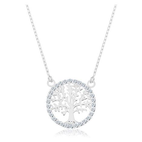 Náhrdelník ze stříbra 925, přívěsek - strom života se zirkonovým lemem Šperky eshop
