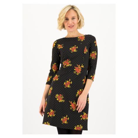 Elegantní šaty s dlouhým rukávem černé Blutsgeschwister Lesní květina