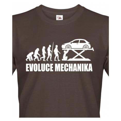 Pánské tričko Evoluce mechanika - ideální dárek k narozeninám pro mechaniky BezvaTriko