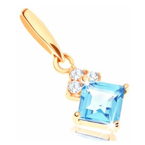 Zlatý přívěsek 375 - čtvercový modrý topas, čiré blýskavé zirkonky Šperky eshop