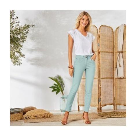 Blancheporte 7/8 barevné džíny světle tyrkysová