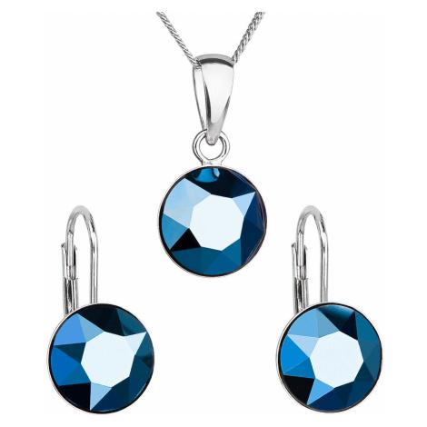Sada šperků s krystaly Swarovski náušnice, řetízek a přívěsek modré kulaté 39140.5 metalic blue Victum
