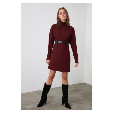 Trendyol Knitted Dress with Burgundy Throat