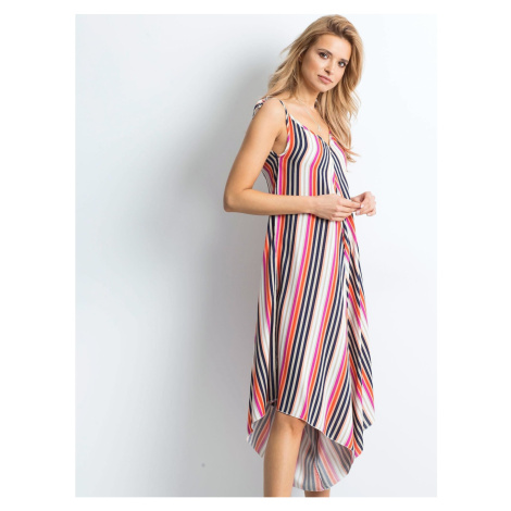 Pink and navy blue striped jumpsuit Fashionhunters