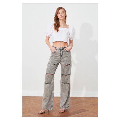 Trendyol Gray Ripped Detailed High Waist Wide Leg Jeans