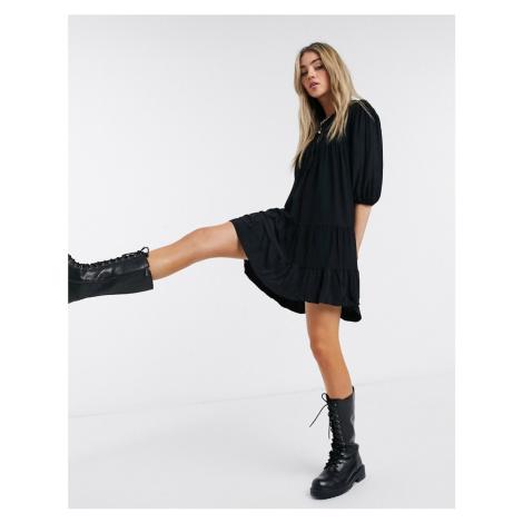 Bershka crinkle tiered smock dress in black
