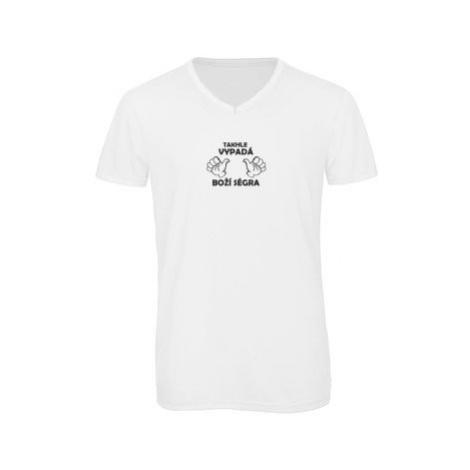 Pánské triko s výstřihem do V Boží ségra