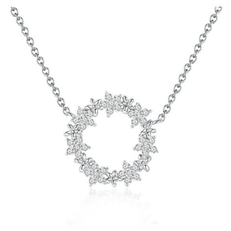 Linda's Jewelry Stříbrný náhrdelník Zirkonové Květinky Ag 925/1000 INH070