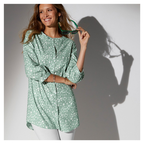 Blancheporte Dlouhá košile s potiskem květin zelenkavá/režná