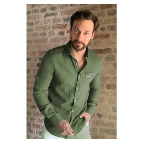 Trendyol Khaki Male Textured Single Pocket Slim Fit Shirt