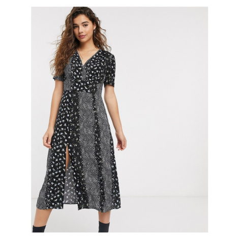 Miss Selfridge tea dress in spliced floral print-Black
