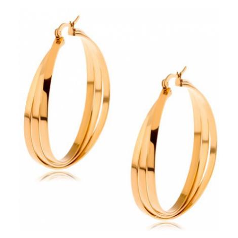 Kruhové náušnice z chirurgické oceli zlaté barvy, tři překřížené linie Šperky eshop