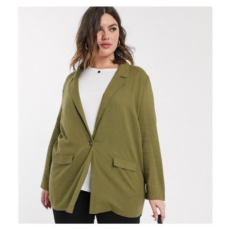 ASOS DESIGN Curve all rounder linen blazer-Green