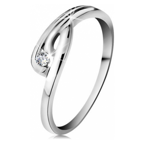 Prsten v bílém 14K zlatě - zářivý čirý diamant, zahnutá ramena se zářezem Šperky eshop