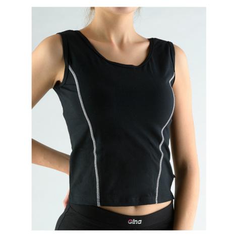 GINA Tričko bez rukávů zdobené kontrastním prošitím 98021-MxCMxB Černá-bílá