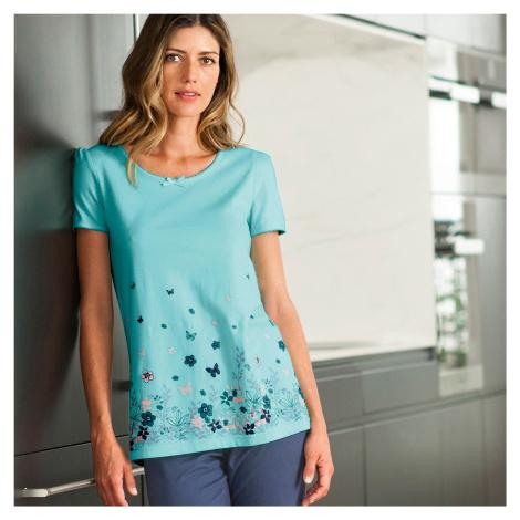 Blancheporte Pyžamové tričko s krátkými rukávy a potiskem bledě modrá