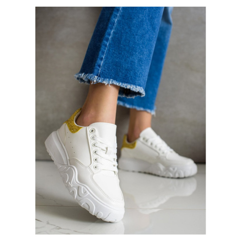 SMALL SWAN WHITE SNEAKERS WITH ECO LEATHER
