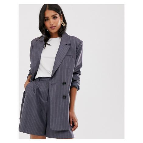 ASOS DESIGN dad suit blazer in purple pinstripe