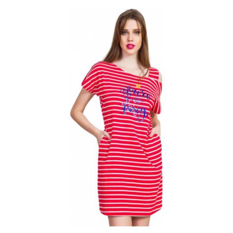 Dámské domácí šaty s krátkým rukávem Vienetta Secret Red sun | červená