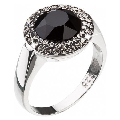 Evolution Group Stříbrný prsten s krystaly černý 35025.3