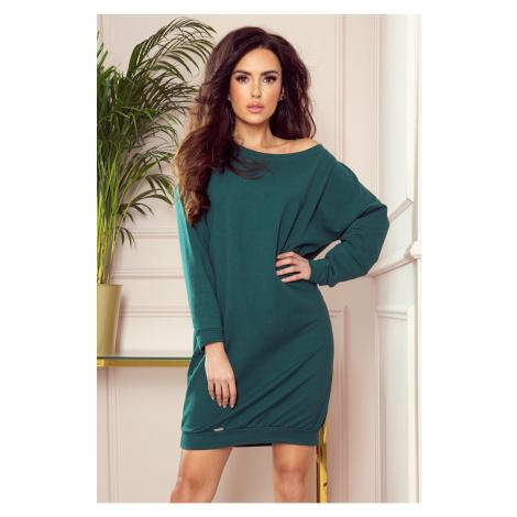 Volné dámské teplákové oversize šaty v lahvově zelené barvě 293-1 NUMOCO