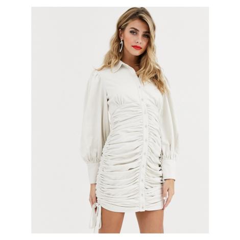 Skylar Rose mini shirt dress with ruched skirt-White