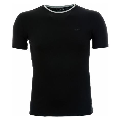 Pánské černé tričko Guess s kontrastním výstřihem