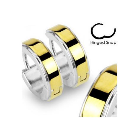 Kruhové ocelové náušnice lesklé stříbrné barvy, zlatý hladký pás Šperky eshop