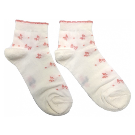 Turgadesign Bílé kotníkové dámské ponožky Mašle