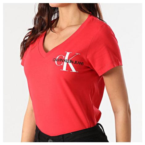 Calvin Klein Calvin Klein dámské červené tričko SS V NECK MONOGRAM TEE