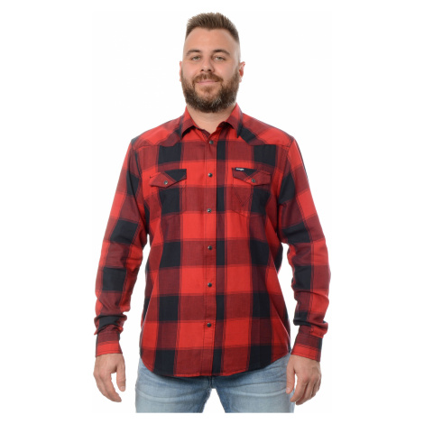 Košile Wrangler Western Shirt Red pánská červeno-černá