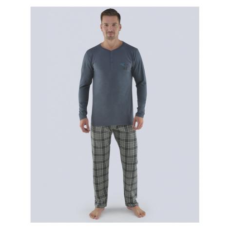 GINA Pánské pyžamo dlouhé 79071-DxGMxC tm. šedá-černá