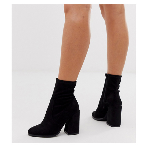 ASOS DESIGN Wide Fit Ellan heeled sock boots in black