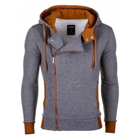 Pánská mikina na zip s kapucí Chandler šedo-hnědá Ombre Clothing