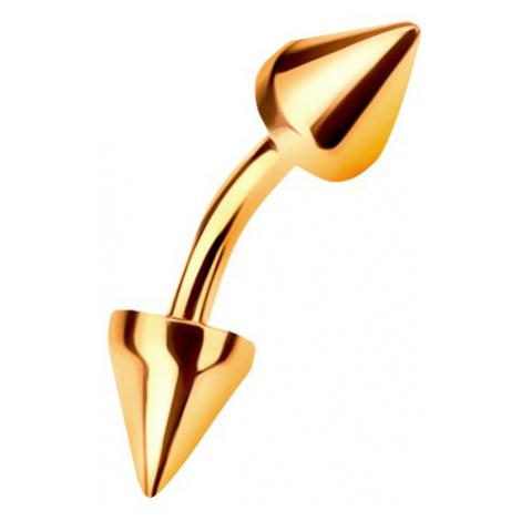 Zlatý 14K piercing do obočí ukončený dvěma kuželovitými hroty, 6 mm Šperky eshop