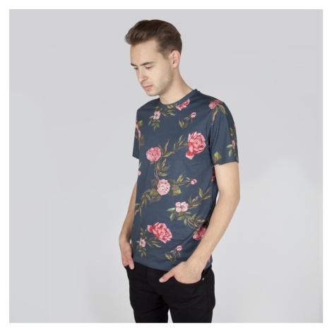 Tmavošedé tričko s květinovým potiskem Kim Selected