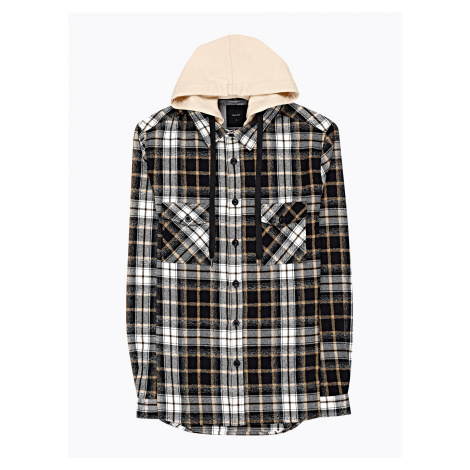 GATE Károvaná flanelová košile s kapucí