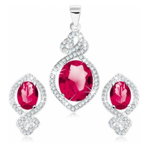 Sada náušnic a přívěsku ze stříbra 925, červenorůžový ovál, čirý lem, uzel Šperky eshop