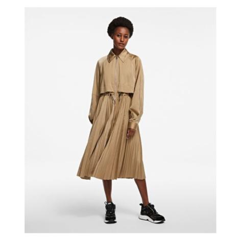 Kabát Karl Lagerfeld Technical Pleated Trench - Hnědá