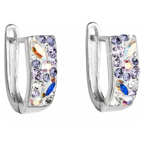 Stříbrné náušnice visací s krystaly Swarovski fialový půlkruh 31123.3 violet Victum