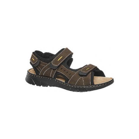 Hnědé kožené sandály Claudio Conti suchý zip