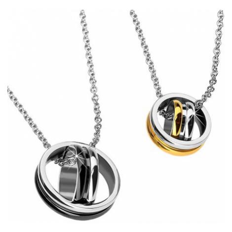 Přívěsky pro dvojici - překřížené kruhy, zlaté a černé Šperky eshop