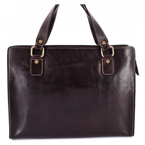Dámská kožená kabelka/aktovka Arteddy - tmavě hnědá
