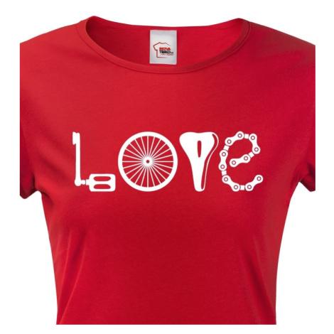Dámské tričko pro cyklistky s potiskem LOVE BezvaTriko